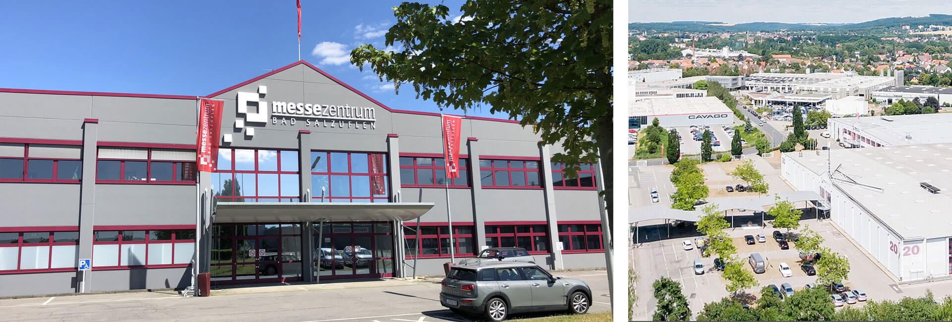 Fotocollage Messehallen und Eingang Messezentrum Bad Salzuflen