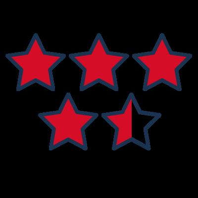 PIktogramm 4,5 Sterne Bewertung